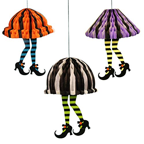 (wgg Halloween Hanging Ornament Skirt & High Heels Honeycomb Paper Pendant Haunted House Decorations Ghost Festival Scene)