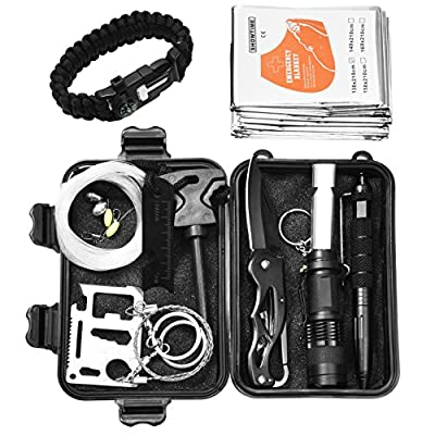 Poposun Emergency Survival Kits 11-in-1,Outdoor Emergency Gear tools Set for Hiking, Camping, Travel, and Emergency Preparedness by Poposun