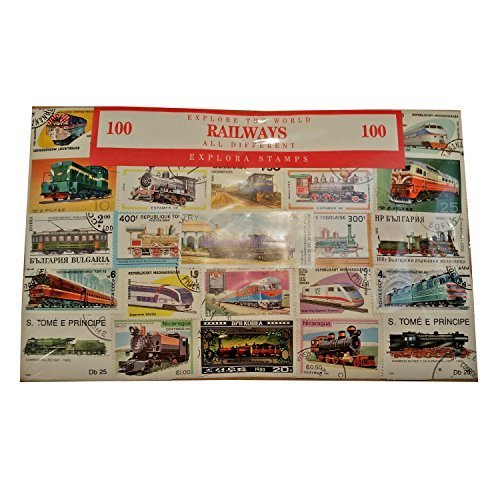 Worldwide Railway Transport Trains Locomotive Stamp Collection – 100 Different Stamps! Souvenir/Speicher/Memoria! Collectable Stamps from Around the World! Timbre/Stempel/Francobollo/Sello! Explora Stamps 100-Rail