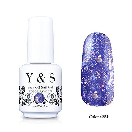 Y&S Gelpolish, Soak-off (Gel Nail Polish) UV LED Nail Art/Beauty Care Glitter Indigo Blue 8ml -#254 from Yao Shun