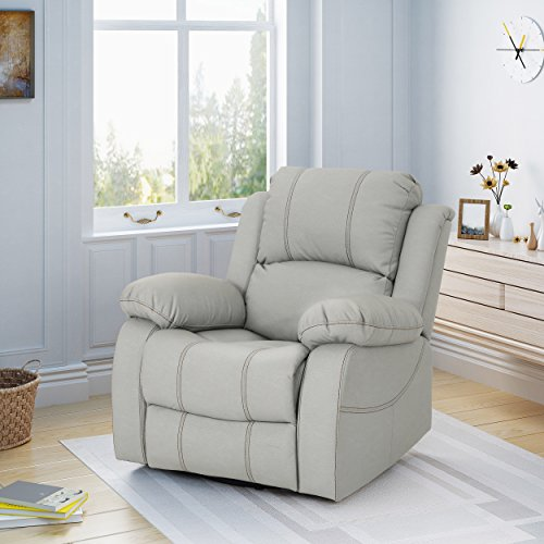 Christopher Knight Home 304391 Lilith Gliding Swivel Recliner, Light Grey + Black - Leather Like Glider Recliner