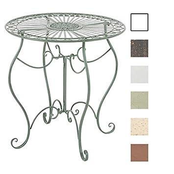 CLP Table de Jardin Ronde Indra avec Diamètre Ø 70 cm | Table en Fer Forgé  pour Usage Extérieur au Jardin, sur la Terrasse ou au Balcon | Piètement ...
