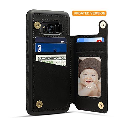 Samsung Galaxy S8 Card Holder Case, Galaxy 8 Wallet Case Spaysi(TM) Slim, Galaxy S8 Folio Leather case 2017, Gift Box, for Galaxy S8 (Black Grey)