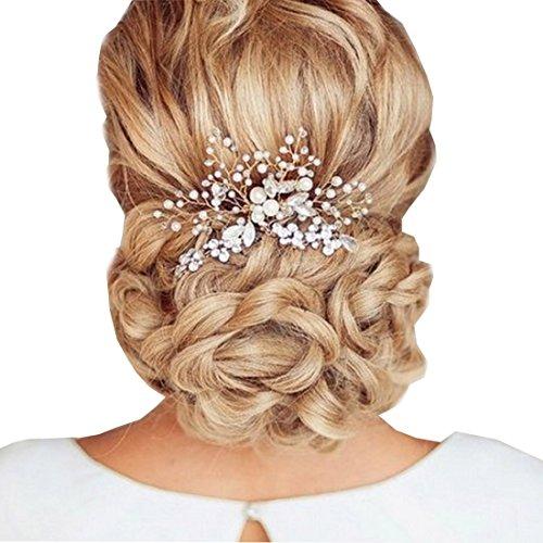 Hair Fascinator Comb - Chicone Ladies Bridal Wedding Prom Flower Hair Clip Headband with Rhinestone Pearls (One size, Silver02)