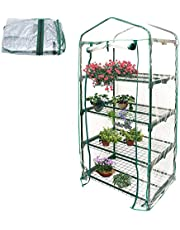 4-Tier Mini Garden Greenhouse Cover PVC Plant Greenhouse Cover Herb and Flower Garden Green House Replacement for Indoor Outdoor Planting (Without Stand)