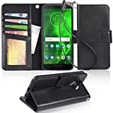 Moto G6 Case, Arae [Stand Feature] PU Leather Wallet case with Wrist Strap and [4-Slots] ID&Credit Cards Pocket for Moto G6 - Black