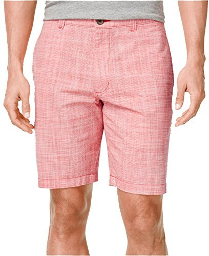 Club Room Men's Micro-Check Flat-Front Shorts (36, Fire) by Club Room