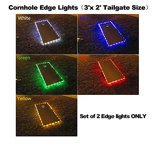 321 Lights Cornhole Board Edge Night Lights for Tailgate Sized Cornhole Boards(3'x 2'),Lasting Over 100+ Hours on 3 AA Batteries(not Included) (2 White) ()