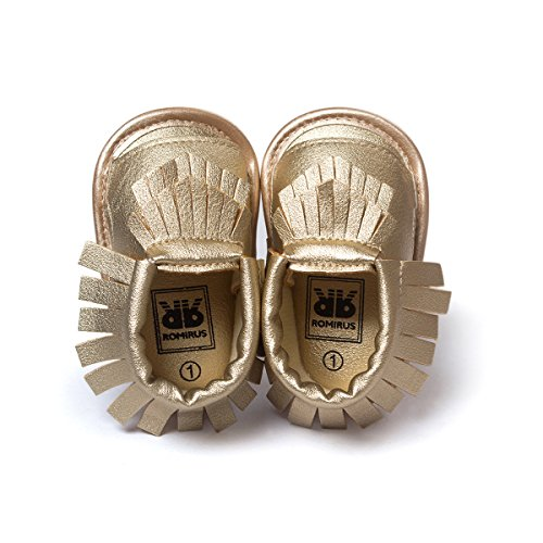 Image of LIVEBOX Infant Baby Mocassins Premium Soft Sole Tassels Anti-Slip Summer Prewalker Toddler Sandals(L: 12~18 months,Champagne)
