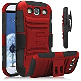 Galaxy S3 Case, HengTech (TM) [Heavy Duty] Armor Holster Defender Full Body Protective Hybrid Case Cover with Kickstand & Belt Swivel Clip for Samsung Galaxy S3 S III I9300 (Red+Black)