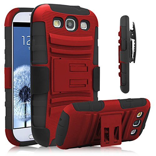 Galaxy S3 Case, Venoro [Heavy Duty] Armor Holster Defender Full Body Protective Hybrid Case Cover with Kickstand & Belt Swivel Clip for Samsung Galaxy S3 S III I9300 (Red+Black) -