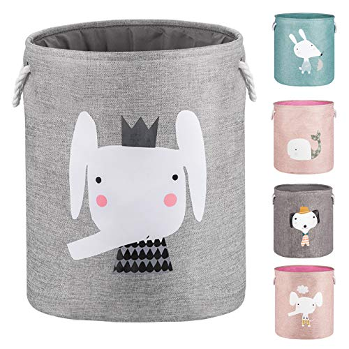 HAPHOM Upgrade Large Collapsible Laundry Basket with Lid, Toy Storage Baskets Bin for Kids, Dog, Toys, Blanket, Clothes,Cute Animal Laundry Hamper (Grey Elephant) (Kids Clothes Cotton)