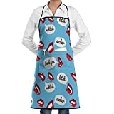 NRIEG Sex Mouth Words Pattern Faction Unisex Kitchen Cooking Garden Apron,Convenient Adjustable Sewing Pocket Waterproof Chef Aprons