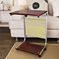 SoBuy Nursing Home Auto-Touch Overbed Table, Bed Table, Laptop Table, Sofa Side Table (FBT21-BR)