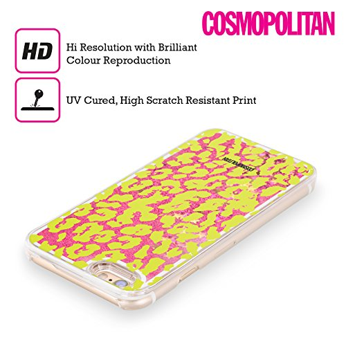 Official Cosmopolitan Green Cheetah Animal Skin Patterns Hot Pink Liquid Glitter Case Cover for Apple iPhone 6 / 6s
