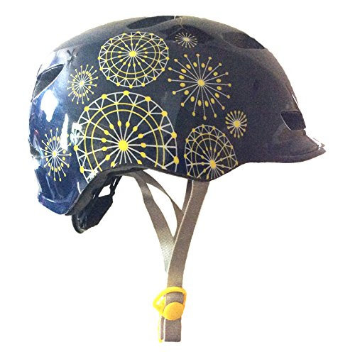 Schwinn Adjustable Fit Shoreline Yellow/White Dot Wheel Starburst Navy Helmet, Fits Ages 14+