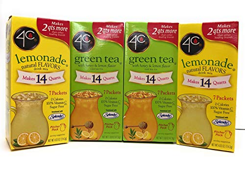 4C Green Tea Totally Light Iced Tea and Lemonade Pitcher Pack Bundle. 7 packets in each box.