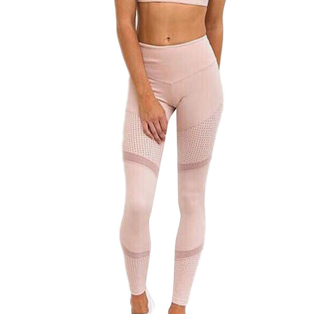 Women Solid Color High Waist Yoga Pants Tummy Control Workout Running Sports Pants Stretch Fitness Tights Beach Trousers (Pink, Large)