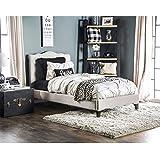 Furniture of America Dresa Contemporary Wavy Beige Fabric Platform Bed Full