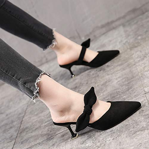 The Small The Heel Fine Shoes Wear Knot Thirty Outside Women'S The Heel Shoes Head Cold Middle The Heels Bow Towing Baotou Summer Eight And KPHY Black Low The In Pointed The qgSU1WzE