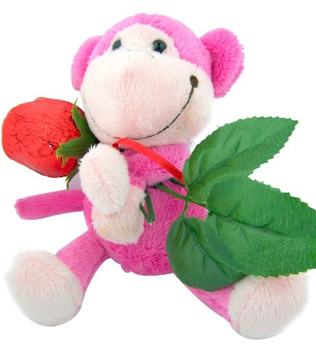 Hard to Find Mother's Day Gift Idea 7 Plush Pink Monkey Holding Long Stem Red Foil Hollow Chocolate Candy Rose