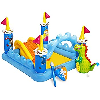 Intex Kids Inflatable Backyard Fantasy Castle Water Slide Play Park Pool Center