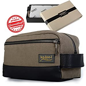 "Toiletry Bag for Men: Canvas Dopp Kit for Travel, Gym, Grooming & Shaving, Waterproof Lining, 10"" x 4.5"" x 5.5"", Olive Green with Vegan Leather Trim, Comes with Bonus Pumice Stone & Gift Box by Kalooi"