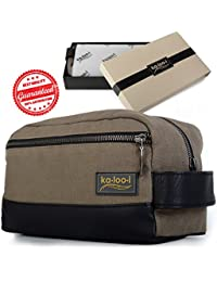 """Toiletry Bag for Men: Canvas Dopp Kit for Travel, Gym, Grooming & Shaving, Waterproof Lining, 10"""" x 4.5"""" x 5.5"""", Olive Green with Vegan Leather Trim, Comes with Bonus Pumice Stone & Gift Box by Kalooi"""