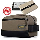 Toiletry Bag for Men - Canvas Dopp Kit for Travel, Gym, Grooming & Shaving, Waterproof Lining, 10'' x 4.5'' x 5.5'', Olive Green Color with Vegan Leather Trim, Comes in Gift Box by Kalooi