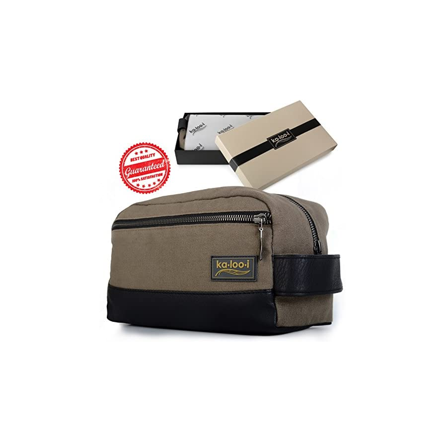 """Toiletry Bag for Men Canvas Dopp Kit for Travel, Gym, Grooming & Shaving, Waterproof Lining, 10"""" x 4.5"""" x 5.5"""", Olive Green Color with Vegan Leather Trim, Comes in Gift Box by Kalooi"""