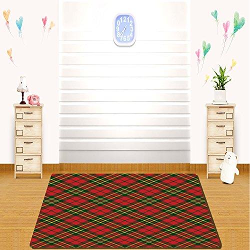 HAIXIA rugs Checkered Irish Tartan Plaid Motifs in Christmas Colors Geometrical Crossed Stripes Decorative Red Emerald Yellow -
