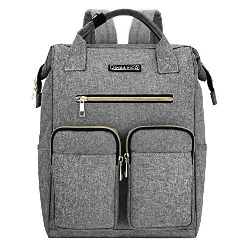 JINS & VICO Laptop Backpacks, Wide Open Professional Business Laptop Bag Large Bookbag Handbag Casual Daypacks for School/College/Business, Grey by Jins&Vico