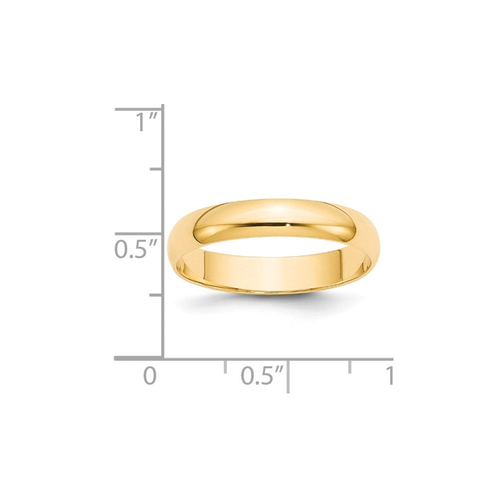 14k Yellow Gold 4mm LTW Half Round Mens Womens Wedding Anniversary Band
