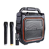 Wireless PA System with Wireless Mic&Headset Mic Karaoke Machine, Portable Rechargeable 20W Party Speaker, FM Radio/AUX-IN Mode/USB Input/TF Card/Remote Control/LED Bar, 1X6.5' Woofer (BLACK)