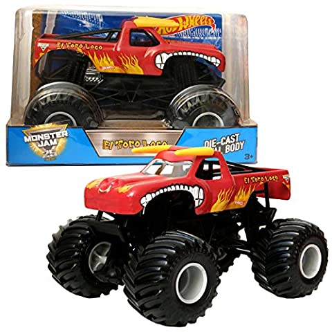 Hot Wheels Year 2017 Monster Jam 1:24 Scale Die Cast Metal Truck - Red EL TORO LOCO CCB08 with Monster Tires, Working Suspension and 4 Wheel - Red Monster Truck