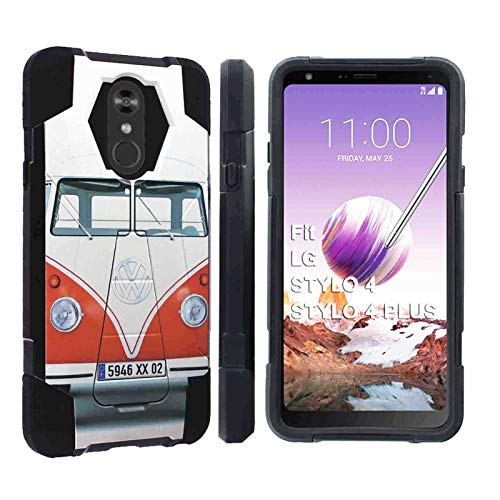 [Naked Shield] LG Stylo 4 / Stylo 4 Plus [Black] Advance Rugged Defender Armor Kickstand Case Feature Hybrid Shell Kickstand for LG Stylo 4, LG Stylo 4 Plus [VW Van Print] (Vw Iphone Case 4)