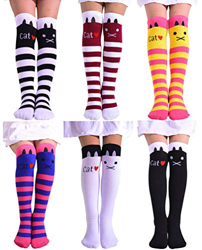 BogiWell Girls Cute Animal Socks Cotton Over Calf Knee High Socks 6 Colors Style 3,One Size by BogiWell