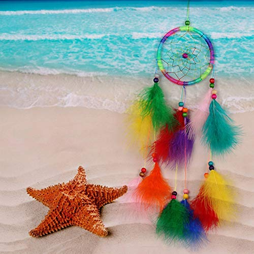 Amazon.com: Chitop Wind Chimes Handmade Indian Dream Catcher Net with Feathers - 55 cm Wall Hanging Dreamcatcher Craft Gift Home Decoration (Multi-Colored): ...