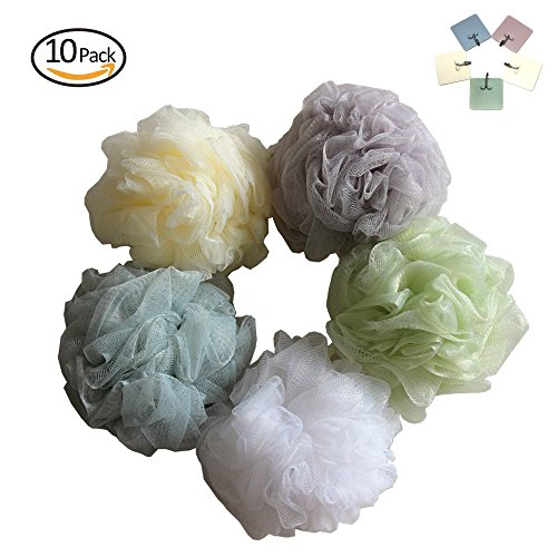 Price comparison product image Large Bath Shower Sponge Pouf Loofah Mesh Brush 60g Exfoliating Luxury Foam Body Bath Ball Set of 5