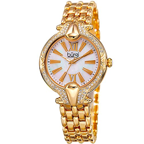 Burgi Women's White Mother-of-Pearl Dial with Swarovski Crystal Accented Gold-Tone Bezel on Gold-Tone Stainless Steel Bracelet Watch BUR163YG