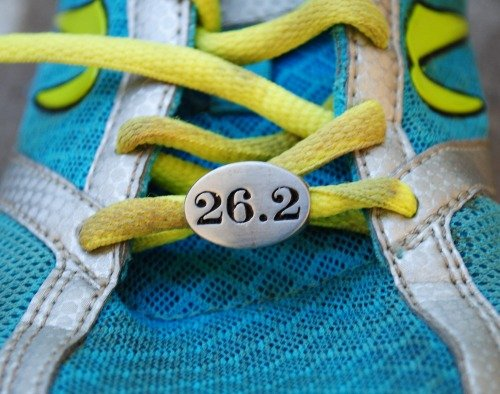 26.2 Marathon Race Stainless Steel Runner Gift Shoelace Charm