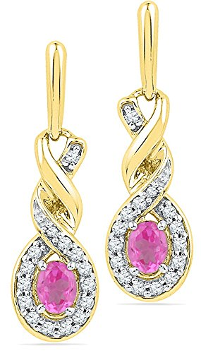 Solid 10k Yellow Gold Oval Round Pink Simulated Sapphire And White Diamond Classic Solitaire One Stone Halo Prong Set Dangle Earrings (.18 cttw)