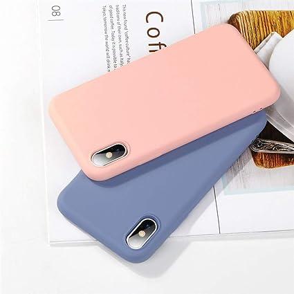 ALAX Funda para telefono movil Funda para teléfono de Color Caramelo de la Moda para iPhone Funda de Silicona Simple y Lisa para iPhoneX Estuche de TPU Suave con Estuches Ajustados para