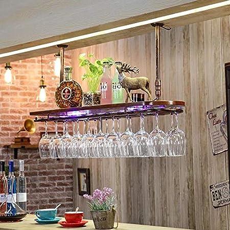 Longxs Soporte de Copa de Vino Tinto, lámpara de Madera Maciza, Barra de Bar, Copa de Vino, Estante al revés, Sala de Estar en casa, decoración de Estante de Vino-Lámpara Plus L62cmW28cm Bronce