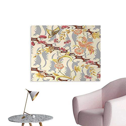 homehot Batik Custom Poster Japanese Garden Inspired Swirling Spring Flowers Design in Soft Colors Illustration Photographic Wallpaper Multicolor W28 xL20