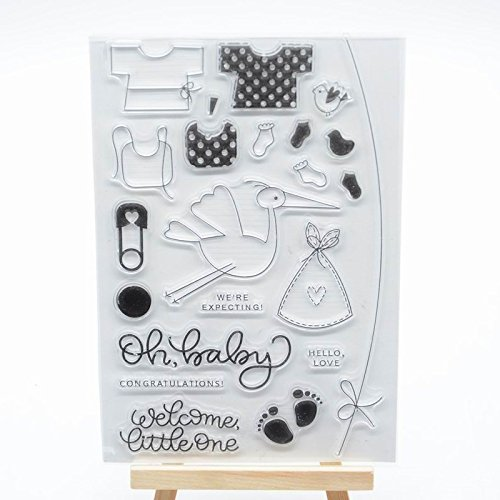 Motif b/éb/é Tampon transparent en caoutchouc pour fabrication de cartes et scrapbooking WooYangFun Joyful Home