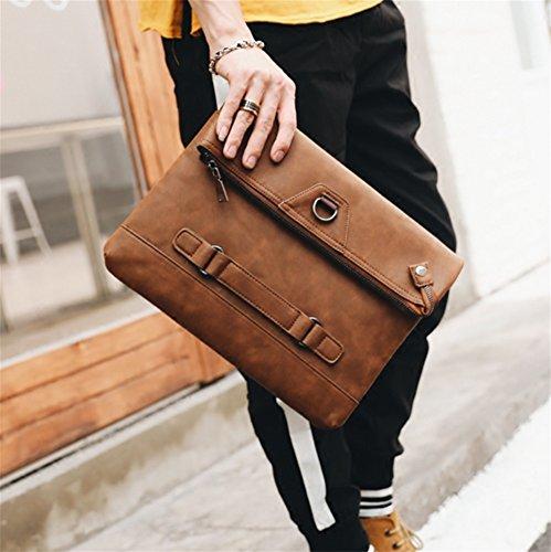Multi Portátiles Men's Retro Shuaige Wrist De Street Leather Casual Plegable Hombro función Embrague Tide Bags Bolsas Zfqqwav