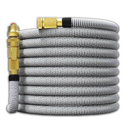 TITAN 100FT Garden Hose – All New Expandable Water Hose with Dual Latex Core 3/4″ Solid Brass Fittings Expanding Extra Strength Fabric Flexible Hose with Jet Nozzle and Washers