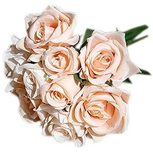 Bridal Bouquets, Funpa 9 Heads Hand Bouquet Artificial Flower Party Rose Bouquet for Wedding Decor 16