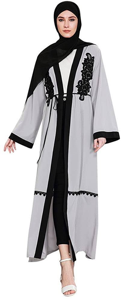 Ababalaya Women's Elegant Modest Muslim Open Front Embroidered Long Maxi Abaya Wrapped S-4XL CNA1584
